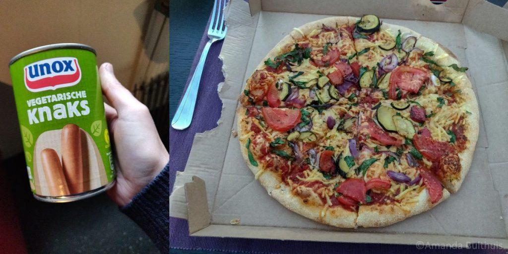 Vegetarische Knaks en vegan pizza