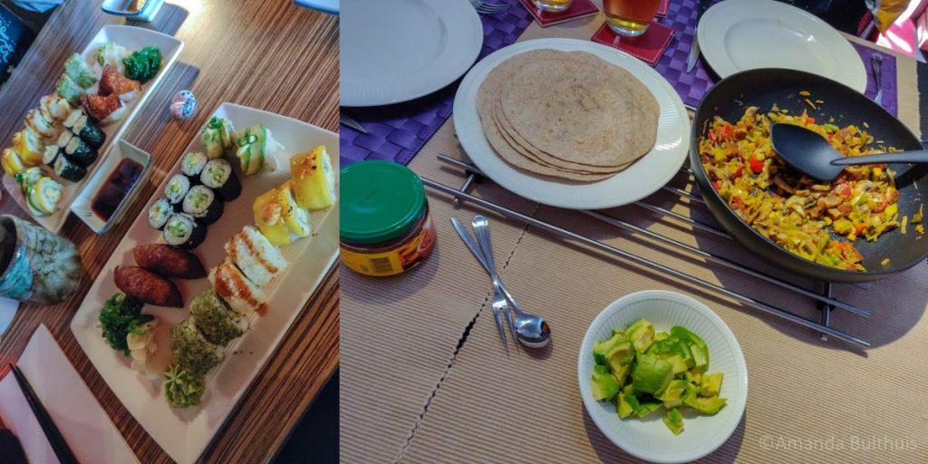 Vegetarische sushi en Mexicaans eten
