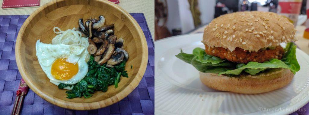 Udon Noedels en chilibonen burger