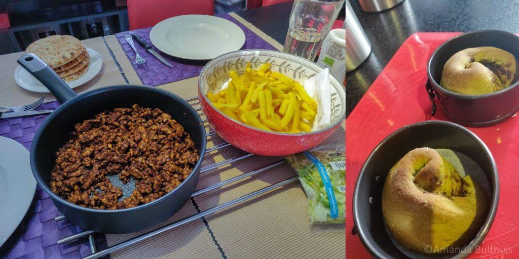 Vegetarische shoarma en matcha-kaneelbroodjes