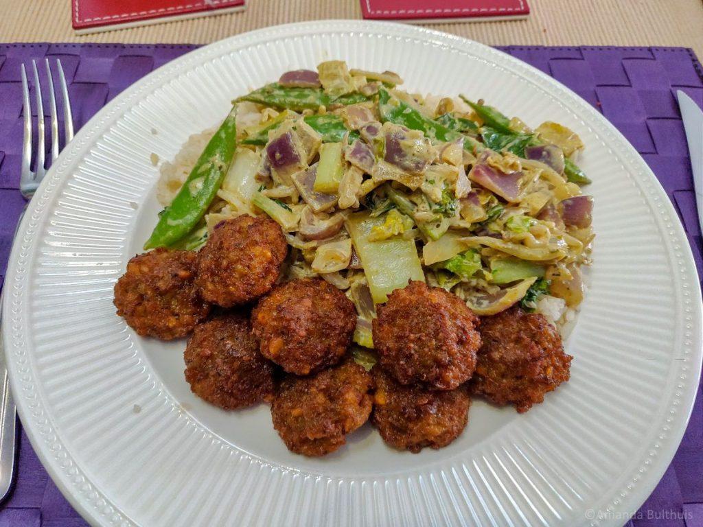 Wok groene curry met falafel