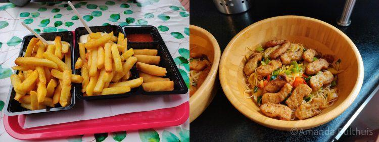 Frietjes en Chinese noedels met zoetzure saus