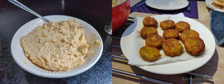 Zelfgemaakte hummus en falafel
