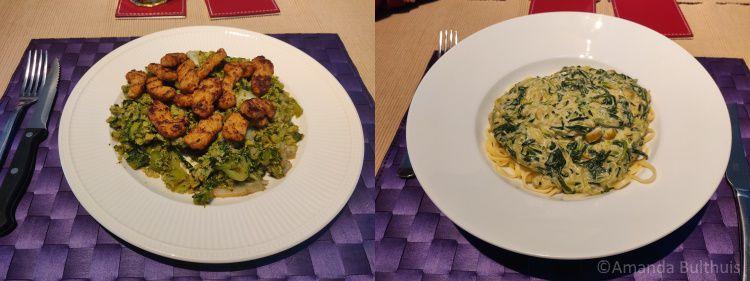Broccolirijst en courgettespaghetti