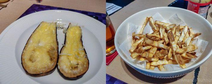 Aubergine en Knolselderij frietjes