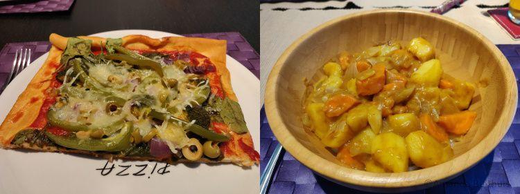 Groente pizza en Japanse curry met noedels