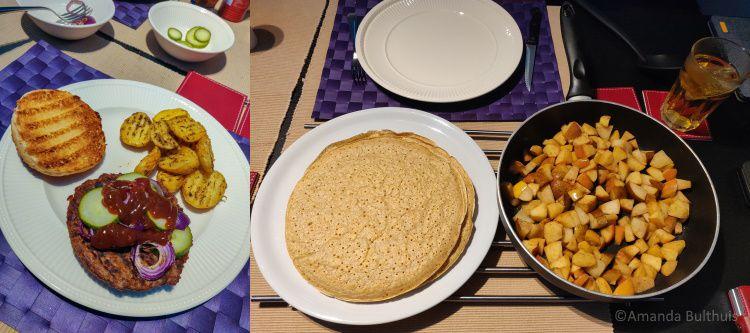 Vegaburgers en pannenkoeken