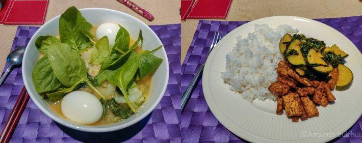 Ramen met spinazie en paksoi en wok met courgette