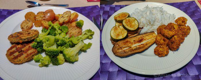 Boerenkool-quinoa burgers en aubergine en courgette uit de oven
