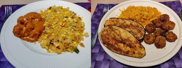 Nasi en aubergine met falafel en rijst