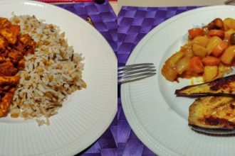 Bonenschotel met tempeh en aubergine met Japanse curry