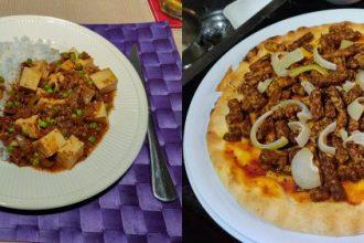 Mapo tofu en vegan shoarma pizza