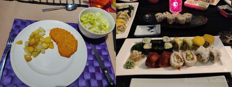 Vegan kipschnitzel met koolrabi en Sushi bij Kyoto Eindhoven