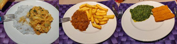 Curry, vegan stoofvlees en vissticks