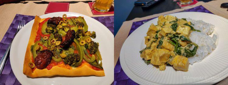 Vegan pizza met groente en vegan saag paneer met tofu.