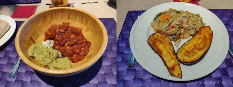 Mexicaanse schotel en aubergine met noedels