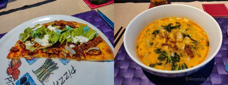 Shoarmapizza en curry noedelsoep