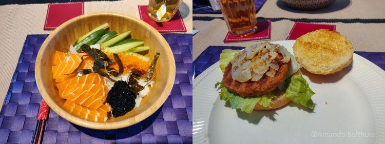 Sushibowl met vegan zalm en vega piri-piriburger