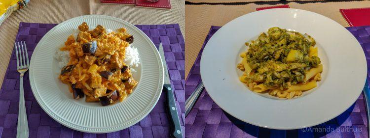 Curry met bloemkool en aubergine en pasta met venkel en courgette
