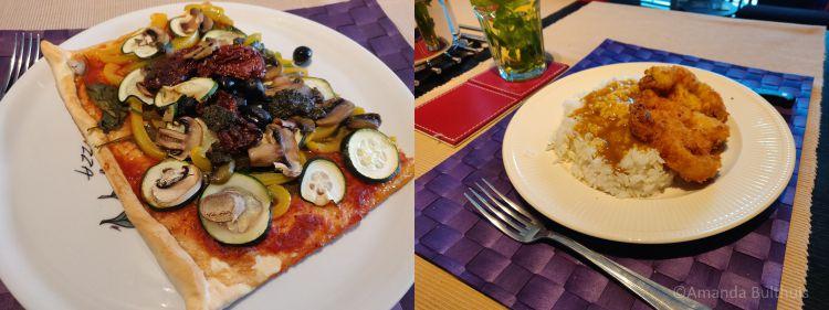 Pizza en bloemkool katsu