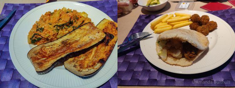 Aubergine met rijst en pita met falafel