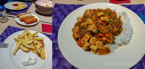 Friet met snacks en mapo tofu