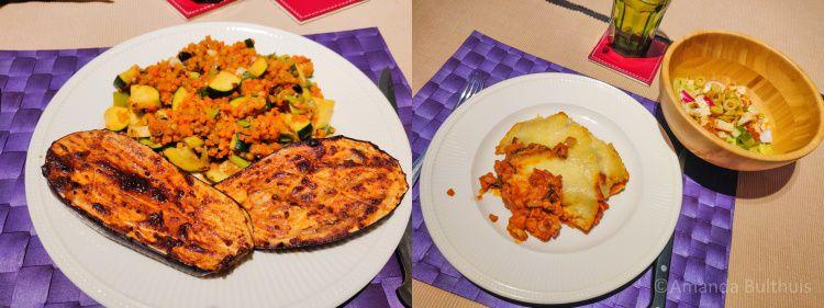 Aubergine en wortelrijst en lasagne met salade