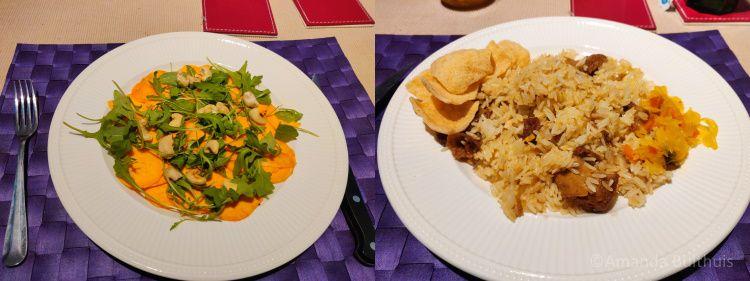 Zoete aardappel carpaccio en rijst met mock dock