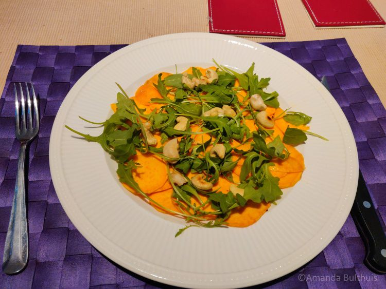 Zoete aardappel carpaccio