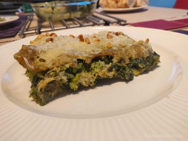 Groene lasagne met broccoli en spinazie