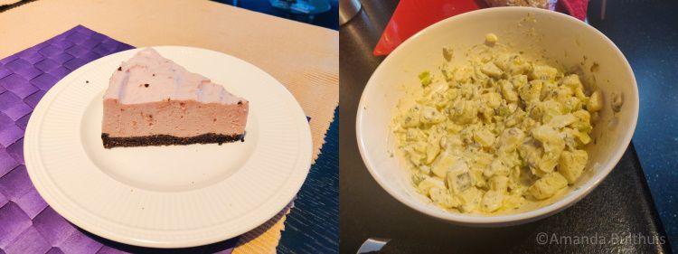 Taart en aardappelsalade
