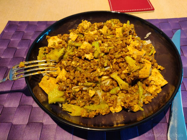 Wok met tofu en vegagehakt