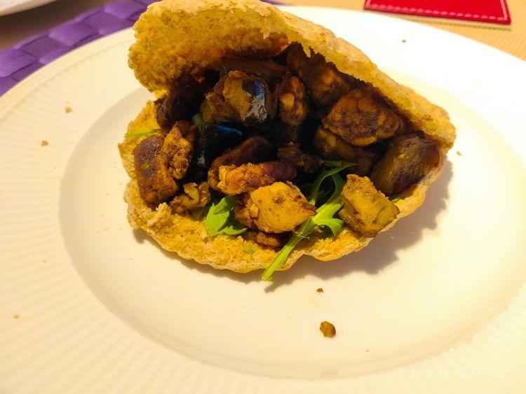 Shoarma met tempeh en aubergine